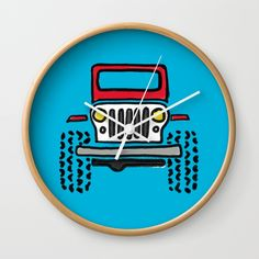 "Good times! Rethink the traditional timepiece as functional wall decor. You'll love how our Artists are converting some of their coolest designs specifically into Wall Clocks. Constructed with premium, shatter-resistant materials, with three frame color options.      - Natural wood, black or white frame options   - Dimensions: 10"" diameter, 1.75"" depth   - Choose black or white hands to match frame or design   - High-impact plexiglass crystal face   - Backside hook for easy hanging Red Wall Clock, Wall Clocks, Jeep Drawing, Natural Wood, Good Times, Cool Designs, Wall Decor, Hands, Artists"