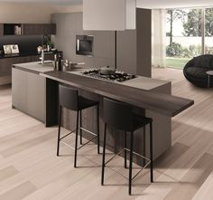 Wooden fitted #kitchen FILOANTIS by @gruppoeuromobil | design Roberto Gobbo (Breakfast Bar)