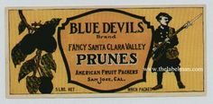 BLUE DEVILS Vintage San Jose CA Prune Crate Label