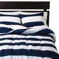Room Essentials™ Rugby Comforter - Blue/White (Full/Queen)
