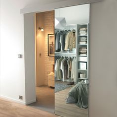 Mirror sliding door Reflecto 83 cm wall system K+ Mirror Closet Doors, Barn Door Closet, Mirror On Door, Sliding Bathroom Doors, Sliding Doors, Glass Barn Doors, Glass Door, Closet Layout, Secret Rooms