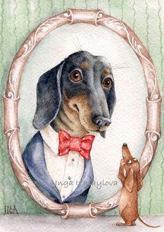 Dachshund Clube - Inga Izmaylova - [Note to self: also sent to A. Dachshund Funny, Brown Dachshund, Dachshund Art, Dachshund Puppies, Cute Puppies, Daschund, Dog Line Art, Dog Art, Delphine