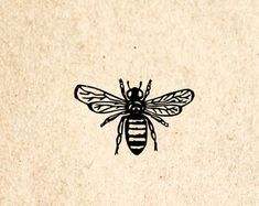 Honey Bee Rubber Stamp - 1 x 1 inches