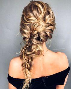 Wedding Hairstyles For Long Hair Gorgeous Hairstyle Inspiration - updo wedding hairstyle , textured updo, messy updo, hairstyles Bride Hairstyles, Pretty Hairstyles, Easy Hairstyles, Hairstyle Wedding, Updo Hairstyle, Wedding Braids, Loose Braid Hairstyles, Prom Updo, Bridal Hair Braids