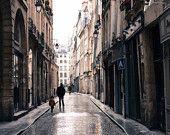 Paris Photography, Afternoon Sparkle, Paris in the rain, Rain soaked cobblestone paris streets, Paris Decor, Art for him, father and son