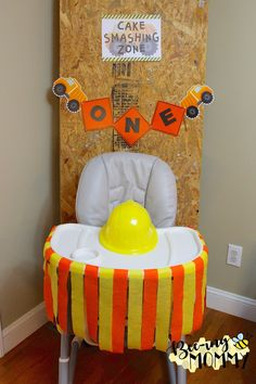 Construction Birthday Party Decorations - Cake Smashing Zone and highchair decoration