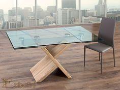 Tavolo allungabile in cristallo trasparente con il basamento in rovere massello Art.5540 | Sedie e Tavoli