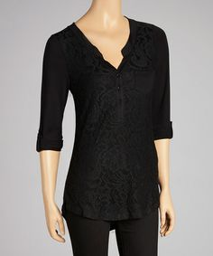 Take a look at this Black Lace Henley by Rain on #zulily today! $25 !!