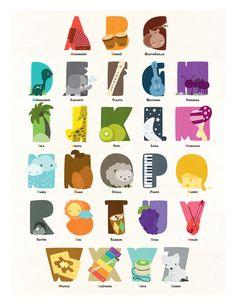 kids' alphabet poster by Tatiana Arocha #letters #typography #animals #illustrations #design