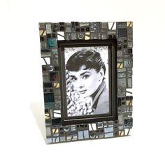 modern picture frame, black and white, wedding gift frame, tech trend, mosaic, 5x7 frame, ready to ship, urban decor, black white decor