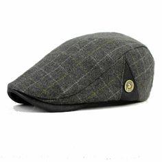 Men Male Wool Blend Newsboy Beret Cap Grid Blank Thick Flat Cowboy Cabbie Hat at Banggood