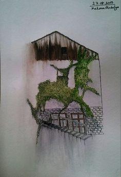Cizginler sergisi icin yaptigim bi sulu boya calismasi. #watercolor #illustration #home #antalya