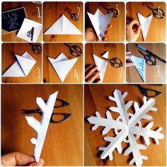 Making snowflakes - 2 instructions and 40 ideas- Schneeflocken basteln – 2 Anleitungen und 40 Ideen snowflakes cut diy christmas decorations snowflakes tinker - Kids Crafts, Christmas Crafts For Kids, Cute Crafts, Handmade Christmas, Holiday Crafts, Christmas Diy, Diy And Crafts, Arts And Crafts, Christmas Decorations