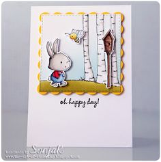 "handgemachte Karte, Geburtstagskarte | handmade card, birthday card - Purple Onion Desgins ""Winston"", ""Garden Bugs"", ""Garden Set No. 1"", ""Birch Tree Background"", ""The Sweetest Day Sentiment Set"", Simon Says Stamp ""Stitched Squares"", Spellbinders ""Classic Scalloped Squares"", Copics, Distress Ink"