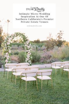 This beautiful couple welcomed guests to their micro-wedding hosted on a private estate in Northern California; the grounds of @parkwinters. ✨ The lush greenery and delicate gold details incorporated throughout are bound to give you some major feels along with a new perspective on small, intimate weddings! Photography: @ashbaumgartner #intimatewedding #smallwedding #northerncalifornia #privateestatewedding #microwedding Wedding Reception Chairs, Wedding Ceremony Decorations, Wedding Seating, Wedding Rentals, Wedding Venues, Wedding Trends, Wedding Ideas, Field Wedding, Private Estate Wedding
