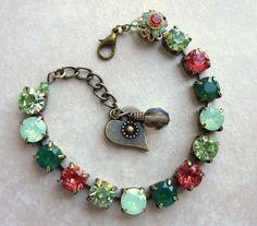 swarovski crystal bracelet padparadcha and green #swarovski #crystal #bracelet www.loveitsomuch.com