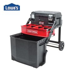 Metal Wheeled Lockable Tool Box at Lowe's. A Workstation ideal for transporting and storing large tools, as well as organizing hand tools, accessories, and other jobsite necessities.