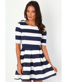 Jeslyn Box Pleated Striped Dress - dresses - pair this with a red or brown belt