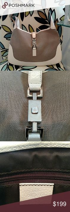 Gucci shoulder bag Classic style cream leather & tan cloth bag. Simple & elegant. Silver buckle with inside zipper. Approximately 8.5in x 12.5in x 1.5in. Used once. Lives in closet. Gucci Bags Shoulder Bags