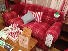 Laura Ashley sofa/Bradford range/Highland Check Cranberry