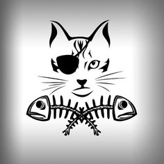 Pirate Cat fish bones graphic Decal Outdoor by SurfmonkeyGear