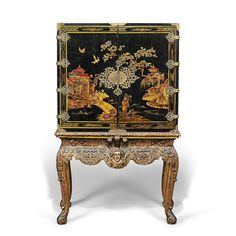A Br Mounted Black Gilt And Polychrome Anned Cabinet On Stand George I