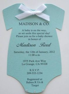 Tiffany & Co. Inspired Baby Shower Invitations Tiffany Blue Onesie | Keepsakeimprints - Cards on ArtFire