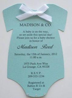 Tiffany & Co. Inspired Baby Shower Invitations Tiffany Blue Onesie | Keepsakeimprints - Cards on ArtFire