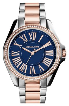 Such a gorgeous mix of navy, rose gold & crystals | Michael Kors crystal bracelet watch.