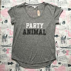 NWT Victoria's Secret tee PARTY ANIMAL! Grey oversized tee shirt. New with tag never worn great condition! Could fit up to medium. Size xs. No trades. Bundle and save. Reasonable offers please.All sales go towards paying off my husband's headstone. Thank you! Victoria's Secret Tops Tees - Short Sleeve