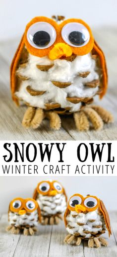 Create a Snowy Owl with this Winter Craft For Kids. Hands on activities keep kids entertained and use fine motor skills. A craft the whole family can work on together. Source by handsonaswegrow Look winter Winter Activities For Kids, Winter Crafts For Kids, Winter Kids, Crafts For Kids To Make, Craft Activities, Preschool Crafts, Nature Activities, Craft Kids, Pinecone Owls