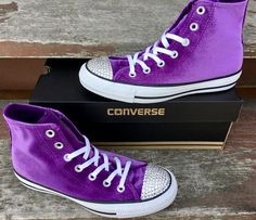 7859dcda325 Purple Converse High Top Kicks Eggplant Plush Velvet w  Swarovski Crystal  Bling Rhinestone Jewel Chu