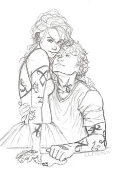 Clary and Jace Sketch by Leenieh.deviantart.com on @DeviantArt