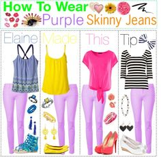 """""""HTW: Purple Skinny Jeans"""" by tip-glitter-girls ❤ liked on Polyvore"""