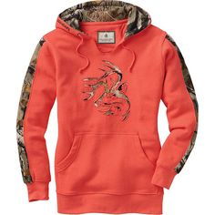 We took our most popular men's hoodie and made one just for you.  Heavyweight cotton blend hoodie in great colors and feminine cut with Big Game Camo® accents.  Features a soft V neck opening for easy on off and extra wearing comfort.