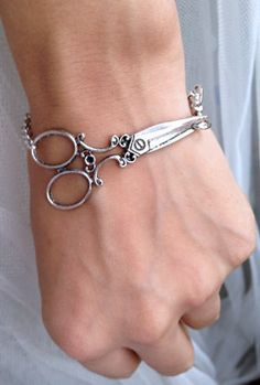 Antique Silver scissor bracelet - wish bracelet. $8.50, via Etsy.