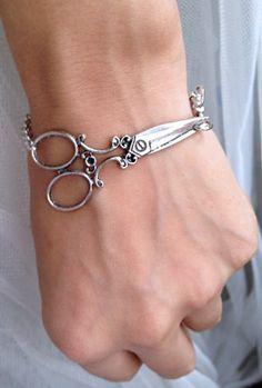 Antique Silver scissor bracelet - wish bracelet. $8.50, via Etsy.