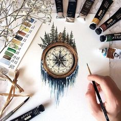 Compass, mountains, river of stars flows tattoo. Mountain antique compass and mi …… – Tatoo trends, noel plans, best ideas Nature Tattoos, Body Art Tattoos, Painting & Drawing, Deep Drawing, Painting Tattoo, 3 Piece Painting, Black Painting, Painting Canvas, Body Painting