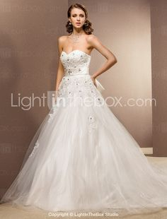 Ball Gown Sweetheart Cathedral Train Tulle Wedding Dress-ZZKKO