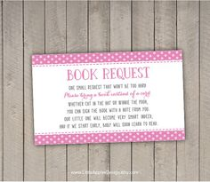 Bring A Book Instead Of A Card / Bring A Book Baby Shower Insert / Book  Request / Pink Book Request / PDF / INSTANT DOWNLOAD