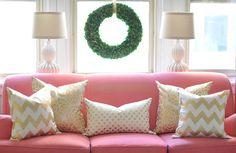 gold throw pillows... caitlin wilson textiles Gold Accent Pillows, Gold Pillows, Winter Home Decor, Winter House, Pink Couch, Pink Christmas, Christmas Decor, Home Living Room, Caitlin Wilson Design