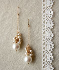 Pearl Drop Earrings Bridal Jewelry Wedding Earrings by laurastark