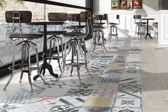 Masquerade Tiles - we love this modern take on a classic patchwork tile. With an added pop of colour!