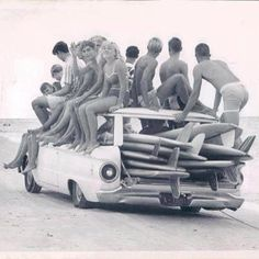How many people and board can you fit in your surf car? Vintage surf vehicle
