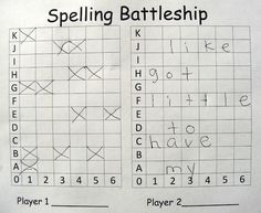 spelling battleship---like this idea as students write their spelling words on their paper.