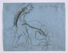 Pablo Picasso (Pablo Ruiz Picasso) - Estudio para el caballo (II). Dibujo preparatorio para «Guernica»