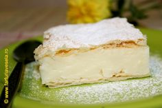 Pariziene/Croissant with cheese filling Choux Pastry, Romanian Food, Cool Whip, Custard, Feta, Dairy, Sweets, Desserts, Crochet