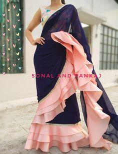 Ready To Wear Navy Blue & Peach Saree - – Sonal & Pankaj Sari Design, Mode Bollywood, Bollywood Fashion, Bollywood Saree, Indian Dresses, Indian Outfits, Peach Saree, White Saree, Navy Blue Saree