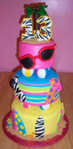 13th birthday beach theme cake by slice custom cakes
