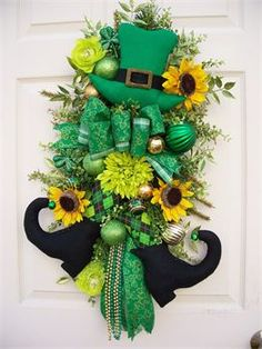 St. Patrick's Day swag. A nice wreath alternative. Timeless Floral Creations Wreath alternative. Timeless Floral Creations. Holiday, wreath, swag, floral, flowers, door decoration.